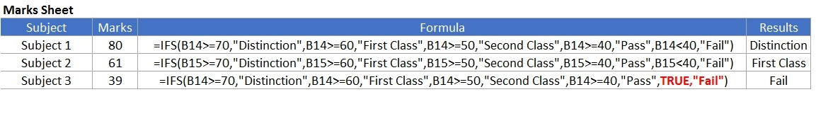 excel ifs function
