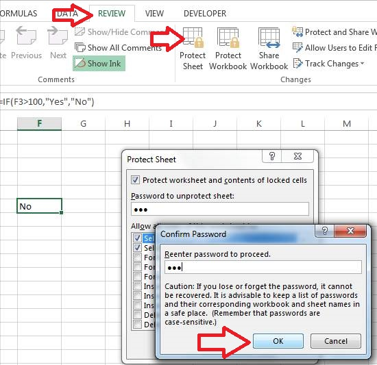 lock cells in excel without password