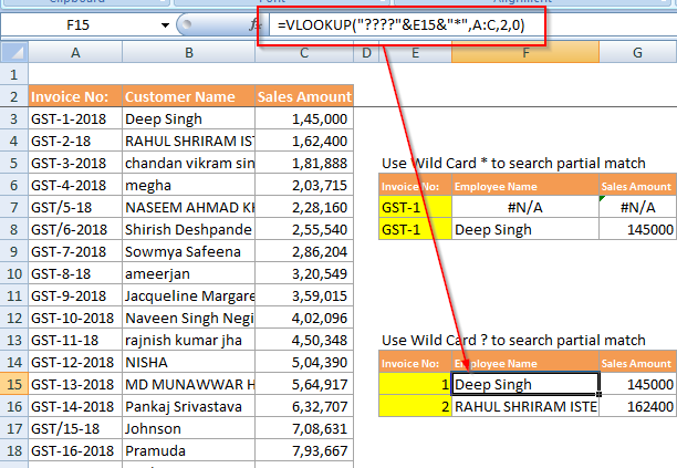 How to use Vlookup wildcard search in excel