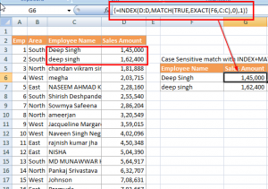 Lookup case sensitive match with EXACT function