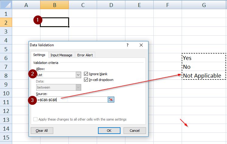 How to insert drop down list in excel