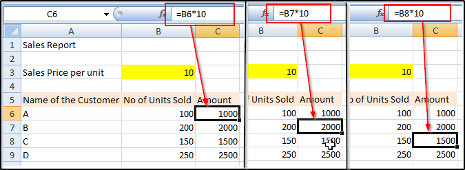 relative and absolute references in excel