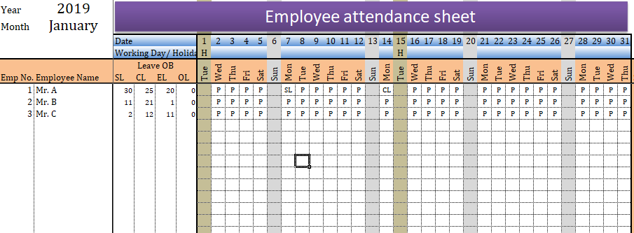 Employee Attendance Sheet In Excel With Formula Excelhub