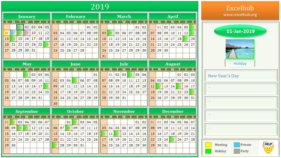 excel calendar for 2019