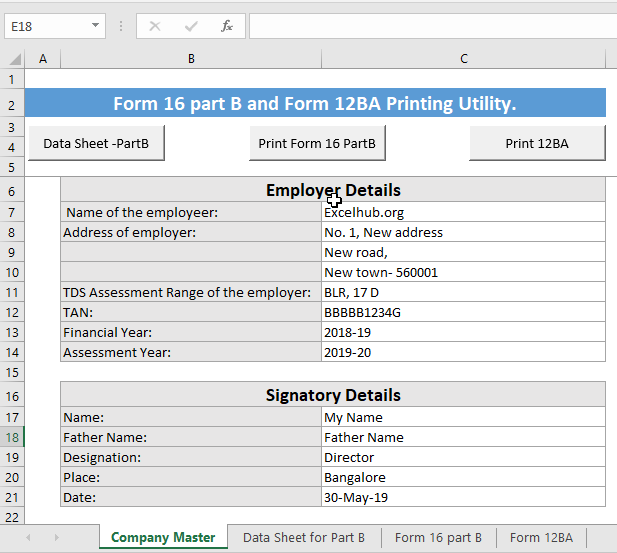 New Form 16 Part B in excel format AY 2019-20(FY 2018-19) free